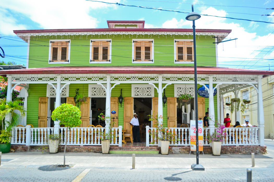 Victorian houses and businesses at the Central Park in Puerto Plata