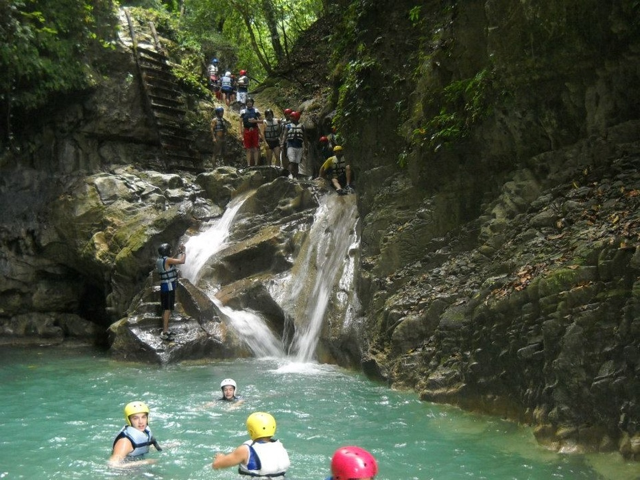 Tourists enjoying the Damajagua River Tour (27 Charcos of Damajagua) of Marysol Tours